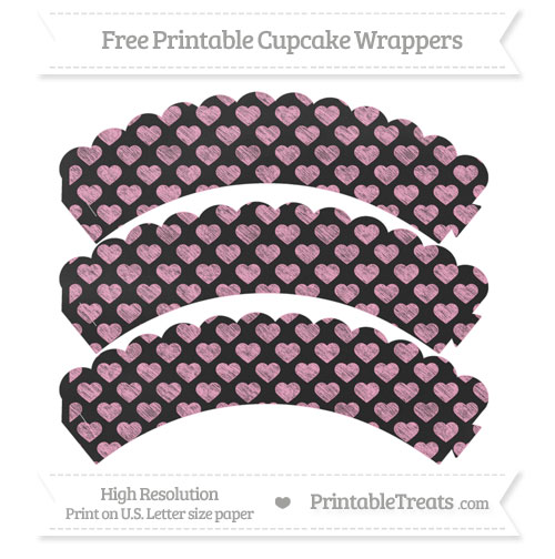 Free Carnation Pink Heart Pattern Chalk Style Scalloped Cupcake Wrappers