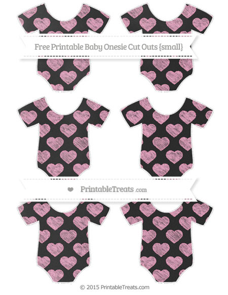 Free Carnation Pink Heart Pattern Chalk Style Small Baby Onesie Cut Outs