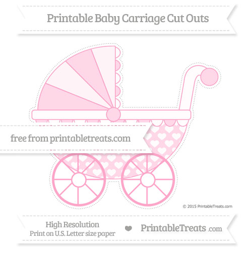 Free Carnation Pink Heart Pattern Extra Large Baby Carriage Cut Outs