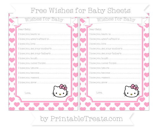 Free Carnation Pink Heart Pattern Hello Kitty Wishes for Baby Sheets