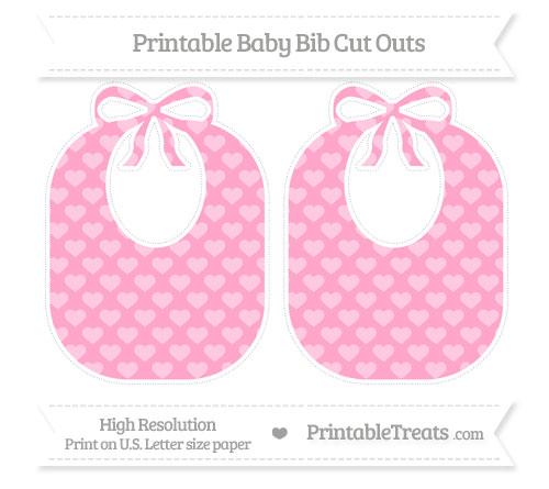 Free Carnation Pink Heart Pattern Large Baby Bib Cut Outs