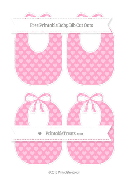 Free Carnation Pink Heart Pattern Medium Baby Bib Cut Outs
