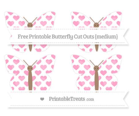 Free Carnation Pink Heart Pattern Medium Butterfly Cut Outs