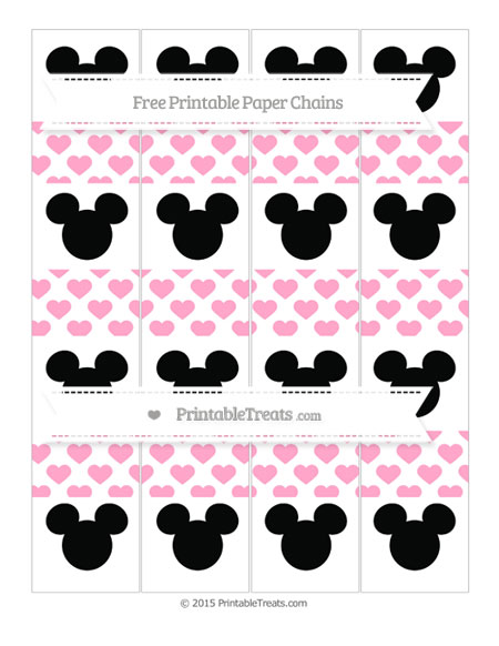 Free Carnation Pink Heart Pattern Mickey Mouse Paper Chains