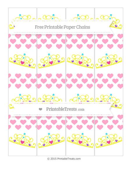 Free Carnation Pink Heart Pattern Princess Tiara Paper Chains