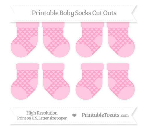 Free Carnation Pink Heart Pattern Small Baby Socks Cut Outs