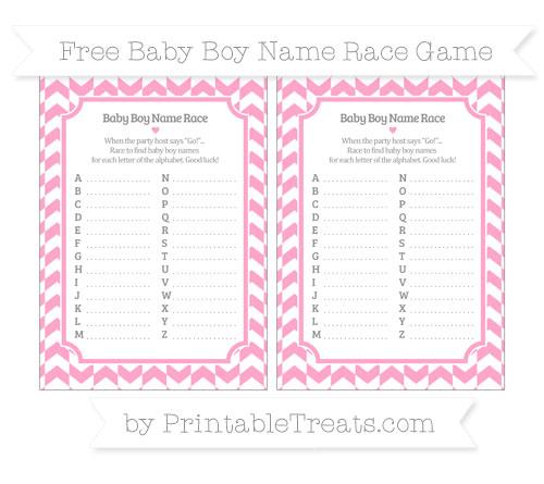 Free Carnation Pink Herringbone Pattern Baby Boy Name Race Game