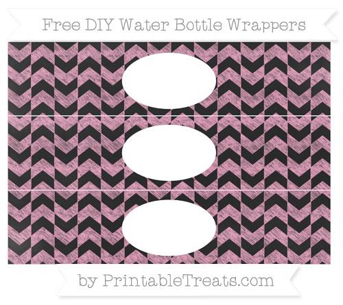 Free Carnation Pink Herringbone Pattern Chalk Style DIY Water Bottle Wrappers