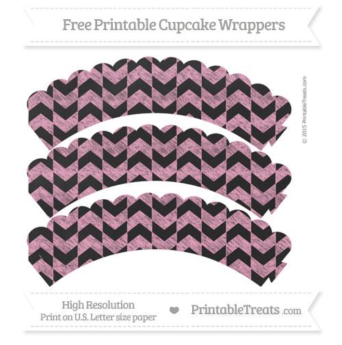 Free Carnation Pink Herringbone Pattern Chalk Style Scalloped Cupcake Wrappers