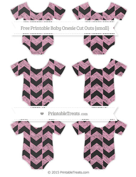 Free Carnation Pink Herringbone Pattern Chalk Style Small Baby Onesie Cut Outs
