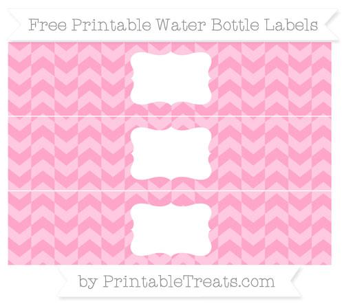 Free Carnation Pink Herringbone Pattern Water Bottle Labels