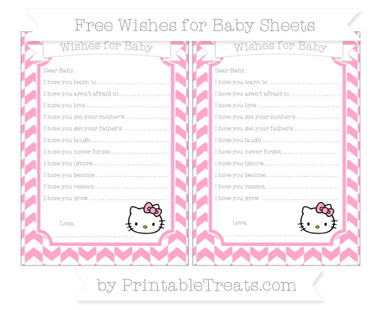 Free Carnation Pink Herringbone Pattern Hello Kitty Wishes for Baby Sheets