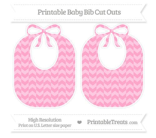 Free Carnation Pink Herringbone Pattern Large Baby Bib Cut Outs