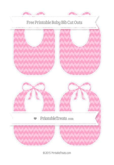 Free Carnation Pink Herringbone Pattern Medium Baby Bib Cut Outs