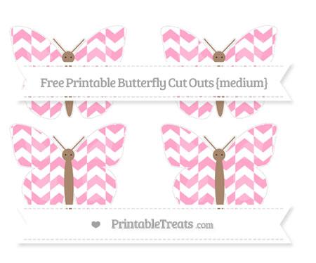 Free Carnation Pink Herringbone Pattern Medium Butterfly Cut Outs