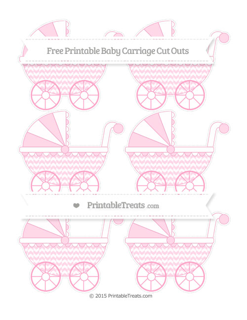 Free Carnation Pink Herringbone Pattern Small Baby Carriage Cut Outs