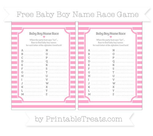 Free Carnation Pink Horizontal Striped Baby Boy Name Race Game