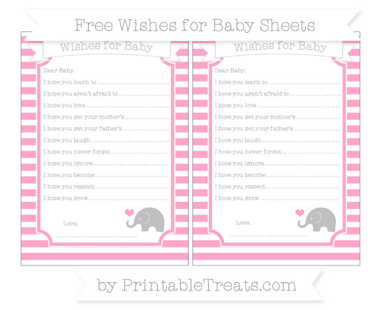 Free Carnation Pink Horizontal Striped Baby Elephant Wishes for Baby Sheets