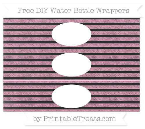 Free Carnation Pink Horizontal Striped Chalk Style DIY Water Bottle Wrappers