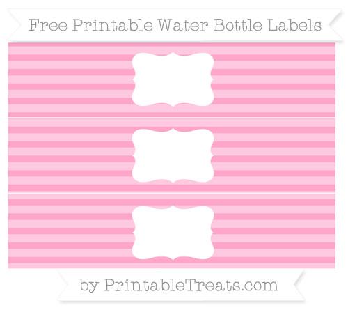 Free Carnation Pink Horizontal Striped Water Bottle Labels
