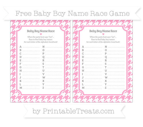 Free Carnation Pink Houndstooth Pattern Baby Boy Name Race Game