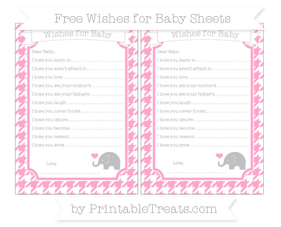 Free Carnation Pink Houndstooth Pattern Baby Elephant Wishes for Baby Sheets