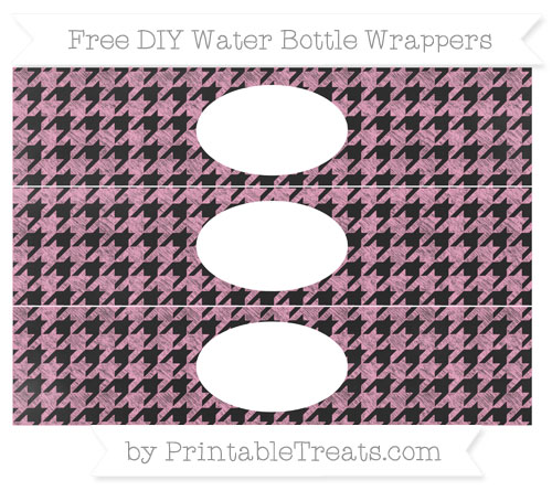 Free Carnation Pink Houndstooth Pattern Chalk Style DIY Water Bottle Wrappers