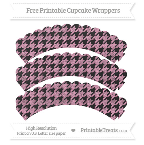 Free Carnation Pink Houndstooth Pattern Chalk Style Scalloped Cupcake Wrappers