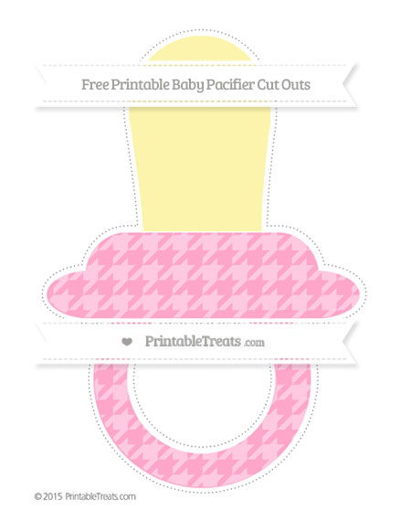 Free Carnation Pink Houndstooth Pattern Extra Large Baby Pacifier Cut Outs
