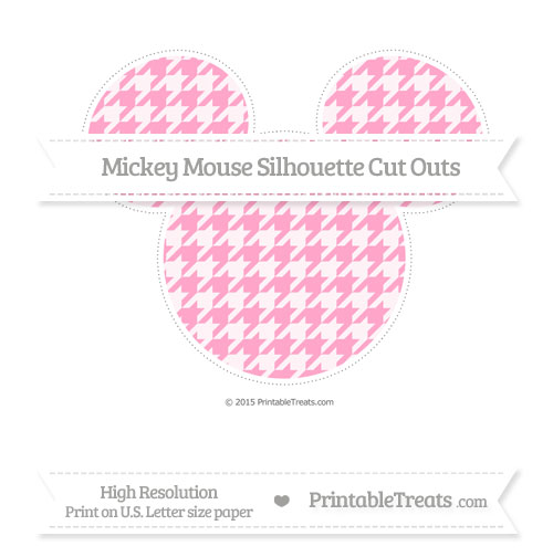 Free Carnation Pink Houndstooth Pattern Extra Large Mickey Mouse Silhouette Cut Outs