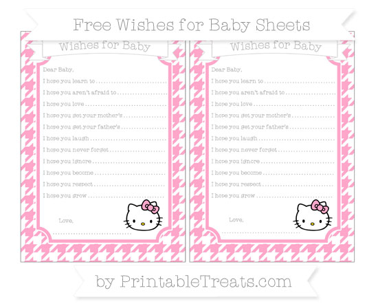 Free Carnation Pink Houndstooth Pattern Hello Kitty Wishes for Baby Sheets