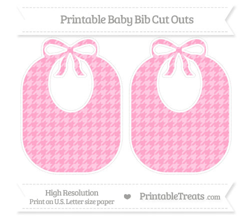 Free Carnation Pink Houndstooth Pattern Large Baby Bib Cut Outs