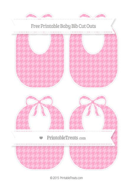 Free Carnation Pink Houndstooth Pattern Medium Baby Bib Cut Outs