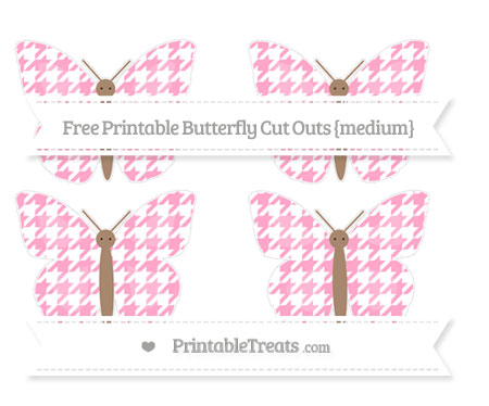 Free Carnation Pink Houndstooth Pattern Medium Butterfly Cut Outs