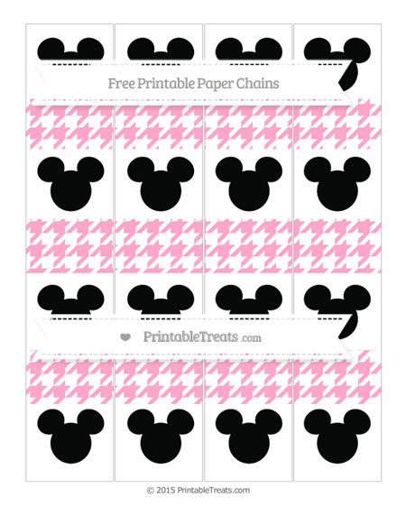 Free Carnation Pink Houndstooth Pattern Mickey Mouse Paper Chains