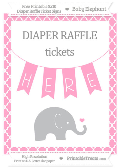 Free Carnation Pink Moroccan Tile Baby Elephant 8x10 Diaper Raffle Ticket Sign