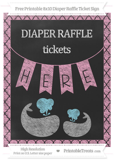 Free Carnation Pink Moroccan Tile Chalk Style Baby Whale 8x10 Diaper Raffle Ticket Sign