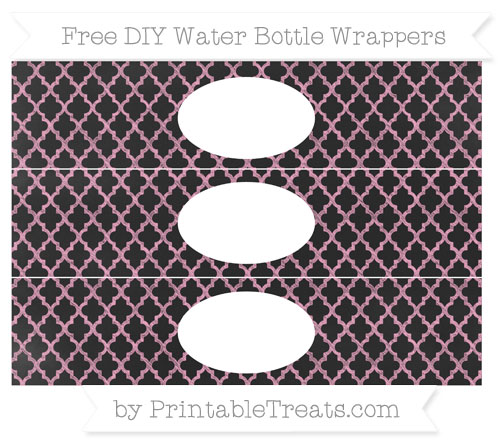 Free Carnation Pink Moroccan Tile Chalk Style DIY Water Bottle Wrappers