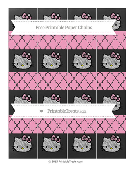 Free Carnation Pink Moroccan Tile Chalk Style Hello Kitty Paper Chains
