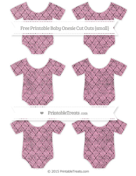 Free Carnation Pink Moroccan Tile Chalk Style Small Baby Onesie Cut Outs