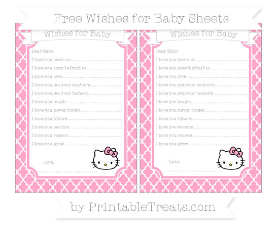 Free Carnation Pink Moroccan Tile Hello Kitty Wishes for Baby Sheets