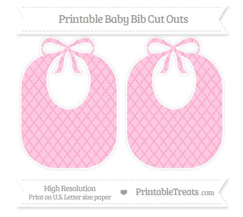 Free Carnation Pink Moroccan Tile Large Baby Bib Cut Outs