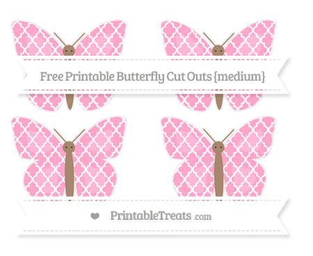 Free Carnation Pink Moroccan Tile Medium Butterfly Cut Outs