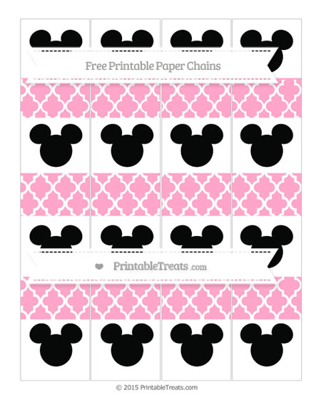 Free Carnation Pink Moroccan Tile Mickey Mouse Paper Chains