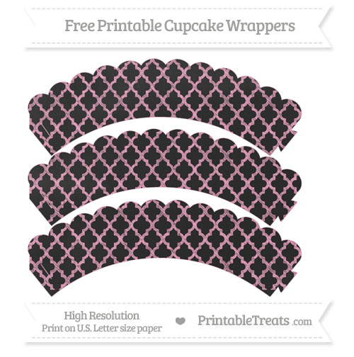 Free Carnation Pink Moroccan Tile Pattern Chalk Style Scalloped Cupcake Wrappers