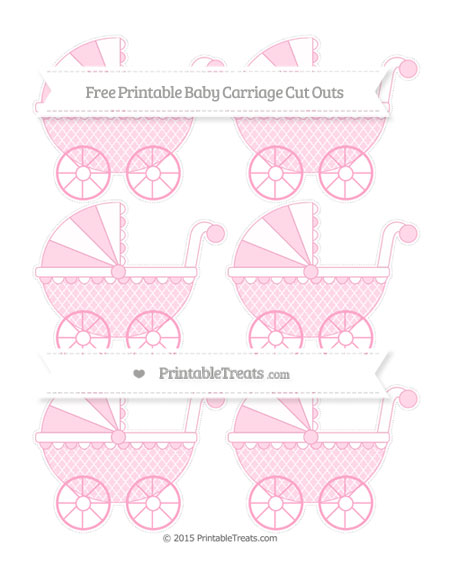 Free Carnation Pink Moroccan Tile Small Baby Carriage Cut Outs