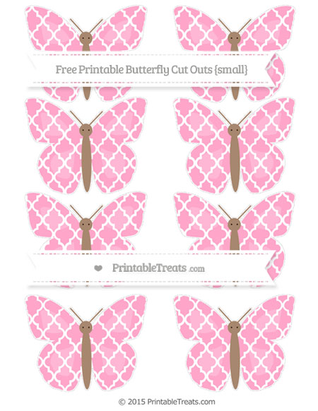 Free Carnation Pink Moroccan Tile Small Butterfly Cut Outs