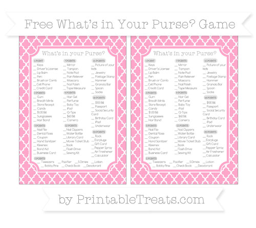Free Carnation Pink Moroccan Tile What's in Your Purse Baby Shower Game