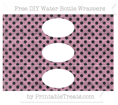 Free Carnation Pink Polka Dot Chalk Style DIY Water Bottle Wrappers