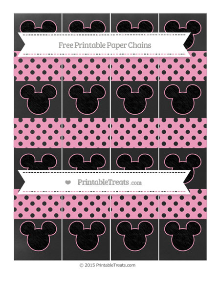 Free Carnation Pink Polka Dot Chalk Style Mickey Mouse Paper Chains